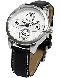 Traktime New Edge Round Dial Wrist Watch For Men /Women With Black Leather Strap