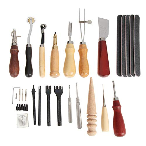 1989candy 59 Pcs Leather Craft Stitching Sewing Tool Set Handmade Stamping Kit DIY Leather Punch Device Hand Tool -
