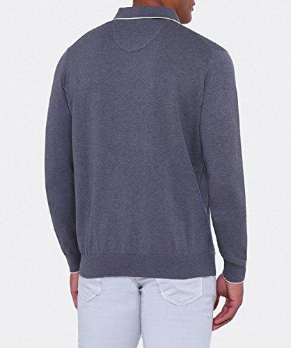 Fynch-Hatton Herren Modern fit Langarm-Polo-shirt Grau Grau