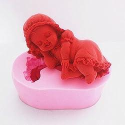 + ING diseño de dormir niña bebé 3d molde de silicona Fondant Chocolate Mould