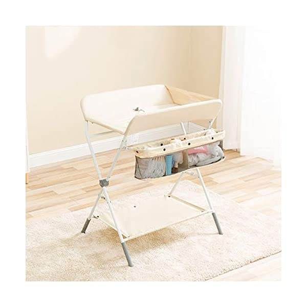 Baby Changing Table Baby Storage Bath Tub Unit Station Dresser Foldable Cross Leg Style AA-SS-Baby Changing Table 【Two in One Design】This baby changing table can be used as baby massaging table as 【Stable Construction】Non-skid feet covers and a sturdy frame keep the table stable and prevent movement. 【Waterproof Material】The surface of the top table is made of durable and wearable Oxford cloth and it can be used for a long period. 1