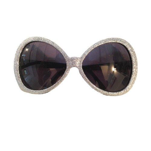 WOOOOZY Discobrille Silber, Glitter-Silber Big Party, Showbrille, 70er Jahre, Starbrille