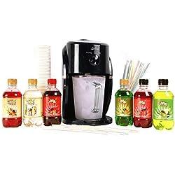 Lickleys Neige Cône Glace Rasoir/Slushy Fabriquant Fait Maison Glace Boissons, Présenté avec Aromatisé Sirops - Black Machine with Cocktail 6 Pack
