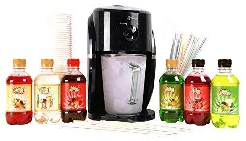 Lickleys Cono de Nieve Hielo Afeitadora/Granizado Fabricante Hace Hogar Hielo Bebidas, Presentado con Sazonado Siropes - Black Machine with Cocktail 6 Pack
