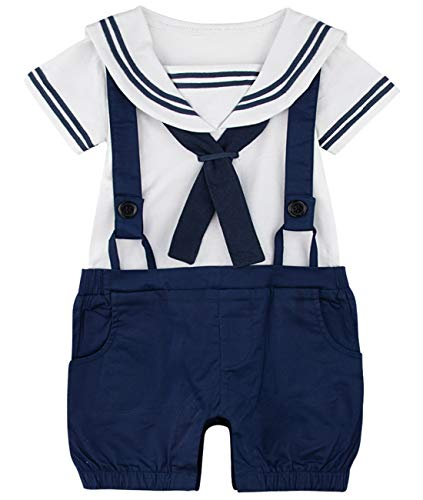 A&J DESIGN Neugeborene Jungs Seemann Strampler Overall Outfits (3-6 Monate, Marineblau)
