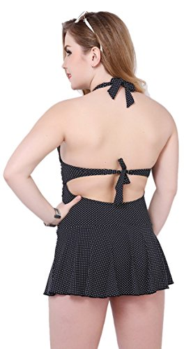 Angcoco Women's Plus Size Sexy V-neck One-Piece Bathing Suit Swimwear Swimdress Black