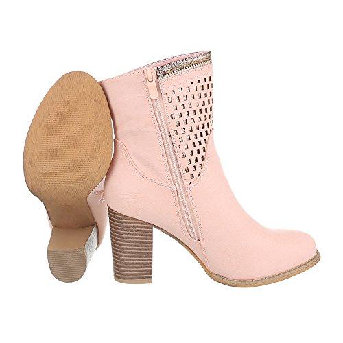High Heel Stiefeletten Damenschuhe Schlupfstiefel Pump High Heels Reißverschluss Ital-Design Stiefeletten Rosa