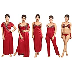 dd1d983ad4b Tucute Women s Satin Nightwear Set of 6 Pcs Nighty