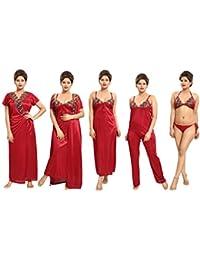 Tucute Women's Satin Nightwear Set of 6 Pcs Nighty, Wrap Gown, Top, Pyjama, Bra & Thong (Maroon) D.No.1190
