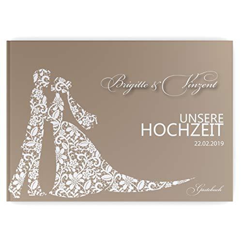 Partycards Hochzeitsgästebuch personalisiert mit 52 weißen Seiten in DIN A4 quer in Hardcover-Bindung (Brautpaar)