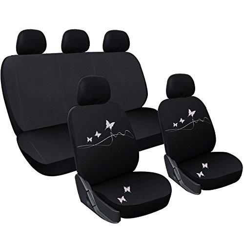 WOLTU AS7306 Set Completo di Coprisedili per Auto Macchina Seat Cover Universali Protezione per Sedile di Poliestere con Ricamo Farfalle Classici Nero