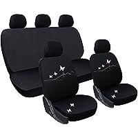 WOLTU AS7306 Fundas de asiento universales para fundas de asiento de coche fundas de asiento fundas de asiento de coche, bordado de mariposas, negro-blanco-rosa