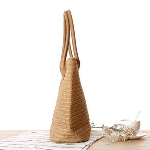 YoungSoul Damen Geflochtene Strohtasche Sommer Handtaschen Strandtasche Shopper Schultertasche mit Reißverschluss Hellbraun
