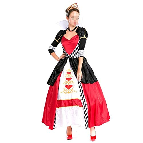 Rote Herzen Prinzessin Kostüm - KODH Halloween kostüm Cosplay rotes Herz königin kostüm Maskerade aristokrat königin Kleid Klassische Retro Prinzessin kostüm (Color : Red)