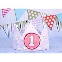 Corona de cumpleaños princesa rosa con blanco para la decoración infantil princesa