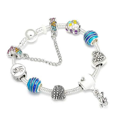 Armbänder Teddy & Ballon Anhänger Marke Armband Mit Regenbogen Perlen & Charms Für Frauen Schmuck Geschenk ()