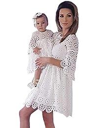22ef46cec6 OHQ Manches Femme Dentelle AjouréE Robe Parent-Enfant Robe MèRe Enfant  ModèLes Blanc Mom &