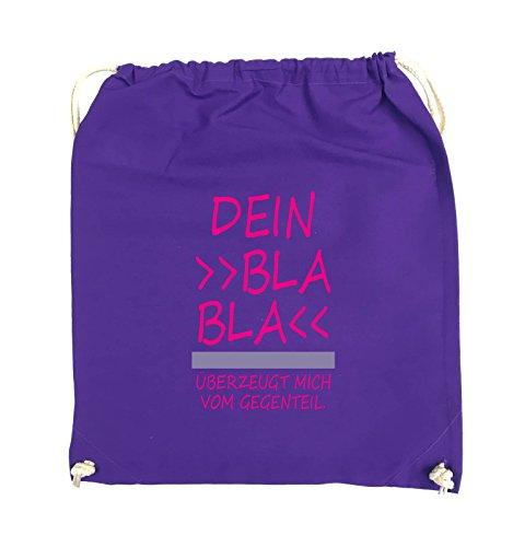 Comedy Bags - Dein Bla Bla Bla überzeugt mich vom Gegenteil. - Turnbeutel - 37x46cm - Farbe: Schwarz / Weiss-Neongrün Lila / Pink-Violet