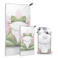 N\A Funny Tree Frog Meditation Yoga Frog 2 Pack Microfiber Beach Towel Towel Kids Beach Set Fast Drying Best For Gym Travel Backpacking Yoga Fitnes