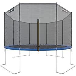 Ultrasport Outdoor Trampoline de Jardin Jumper, Set pour Trampoline avec Tapis de saut, Filet de sécurité, Barres du filet Rembourrées et Revêtement pour les Bords, jusqu'à 150kg, Bleu, Ø 366 cm