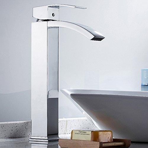 Miscelatore cascata lavabo bagno elegante moderno rubinetto cascata beccuccio alto allungato monocomando lavandino in ottone cromato 3/8