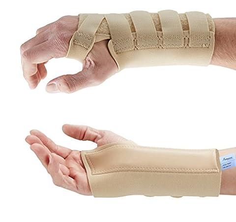 Actesso Beige Handgelenkbandage Handgelenkschiene (Mittelgroß, Links). Ideal für Karpaltunnelsyndrom - Zerrungen - Arthritis und Handgelenkschmerzen - Medizinisch bewährt