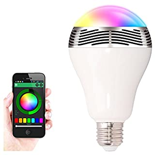 New Wireless Bluetooth 4.0 Speaker Smart LED Night Light Bulb Audio Music RGB Lamp- Smartphone Free APP Controlled- Dimmable Multicolored Colorful LED Display