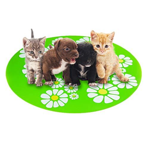 DQANIU ❤️❤️ Kleine Blume Pet Wasserspender Silikon Pet Mat Anti-Splash Anti-Slip Pet ()