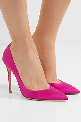 ea89adf3 ... Extremo De De Agujas Cerrado Sexy Color Mujer Rosa Boda De Zapatos De Tacón  Zapatos Novia