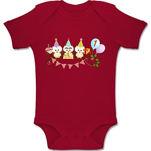 g Baby - 1. Geburtstag süße Party Eulen Erster - 12-18 Monate - Rot - BZ10 - Baby Body Kurzarm Jungen Mädchen ()