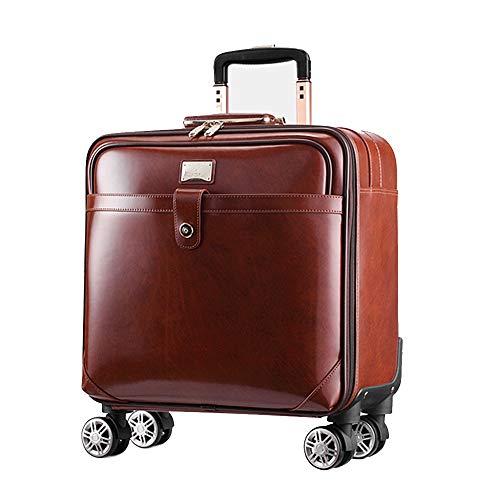 JBAG-one Weiches Leder Leichtbau-Trolley-Koffer mit 4 rotierende Räder, Business Rolling Gepäck für Männer,Brown,20inch - - Brown-leder-gepäck