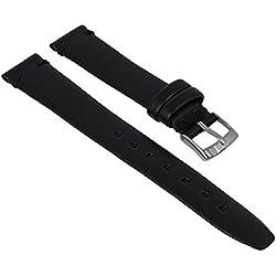 Minott watch strap real leather flat black 27977, Width: 20mm; Buckle: Silver