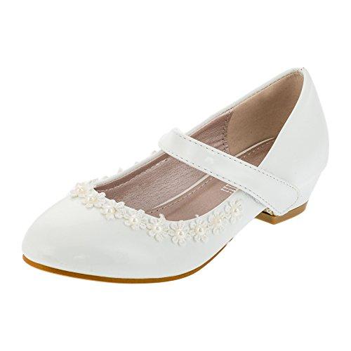 Festliche Mädchen Pumps Ballerinas Schuhe Lackoptik Perlen Feier Party Freizeit M435ws Weiß 33 EU/Fußlänge 20,5 cm