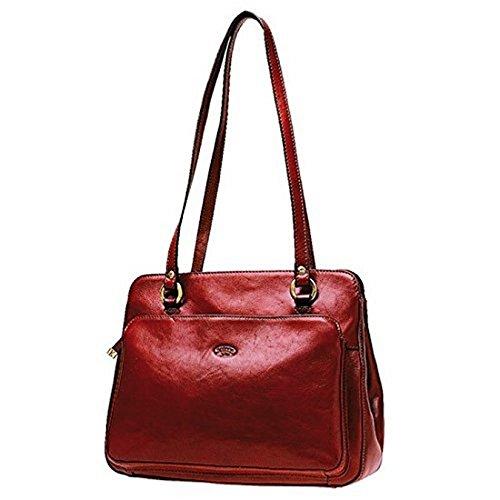 Borsa per la spesa, in pelle di vacchetta, colletto 82374 K Rosso (rosso)