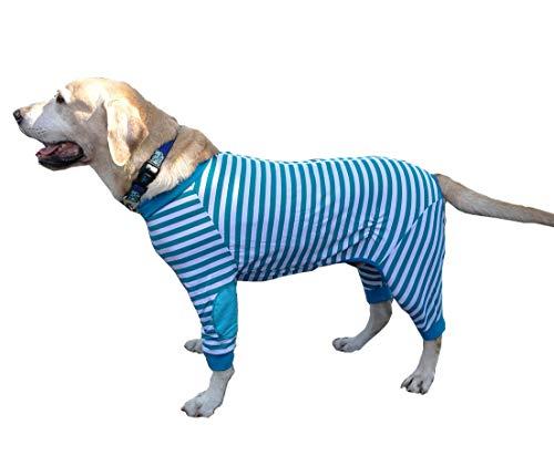 Extra Große Kostüm Hunde - BT Bear Hundepyjama für große Hunde, flexibel, atmungsaktiv, Reißverschluss, weiche Baumwolle, gestreift, für mittelgroße Hunde und große Hunde