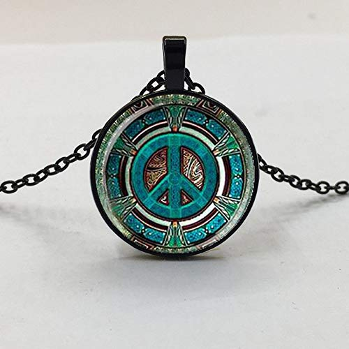 1pcs Hippie Frieden Zeichen Glas Kuppel Anhänger Halskette Diy Handgemachte Mode Schmuck Vintage Charm Trendige Geschenk Für Männer Frauen Geschenk