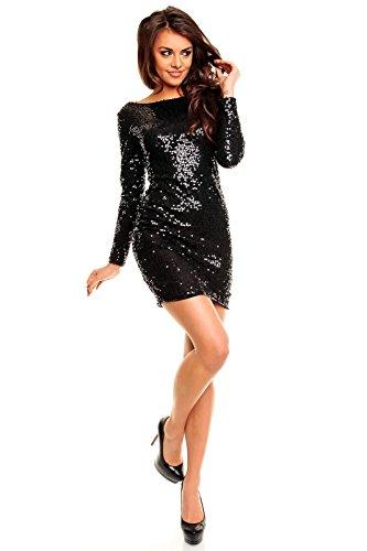 Paillettenkleid rückenfrei Cocktailkleid Abendkleid mit Pailletten bestickt schwarz XL - 2