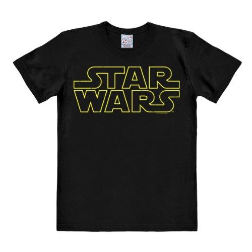 Logoshirt T-Shirt Krieg der Sterne - Logo - Star Wars Schriftzug - Rundhals Shirt schwarz - Lizenziertes Originaldesign, Größe L