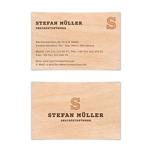 100 x Visitenkarten individuell Business Karten 300g/qm 85 x 55 mm - Holzoptik