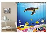 Amody 3D-Digitaldruck Seaworld Finshes Und Schildkröte Duschvorhang Bad Vorhang Durable Wasserdichte Bad Vorhang Bunte Größe 150x180CM