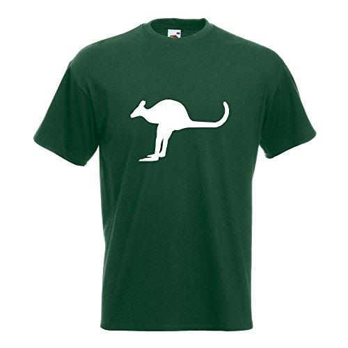 KIWISTAR - Känguru Kangaroo Beuteltier T-Shirt in 15 verschiedenen Farben - Herren Funshirt bedruckt Design Sprüche Spruch Motive Oberteil Baumwolle Print Größe S M L XL XXL Flaschengruen