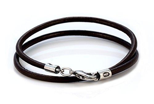Bico Herren 4mm Braunes Lederhalsband 45cm Lang (CL6 Braun 45cm) Leder Halskette