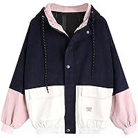 Hmeng Frauen Hoodie Jacket, Lelili Warm Drei-Farben-Patchwork Langarm-Reißverschluss-Taste up Pockets Jacke Outwear Mantel mit Kapuze