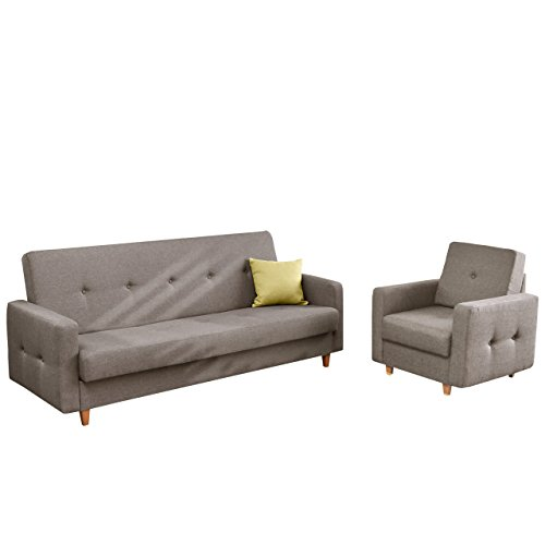 Polstergarnitur Tango Sofa mit Bettkasten und Schlaffunktion, Einzelsessel, Sessel, Modernes Bettsofa Couch, feiner Webstoff, Polstermöbel (Drago 136)