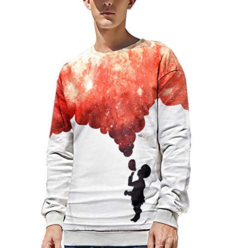 Amphia - Herren Sweatshirt Pullover,Männer Fashion T-Shirt mit 3D-Druck und Langen Ärmeln Pullover Bluse