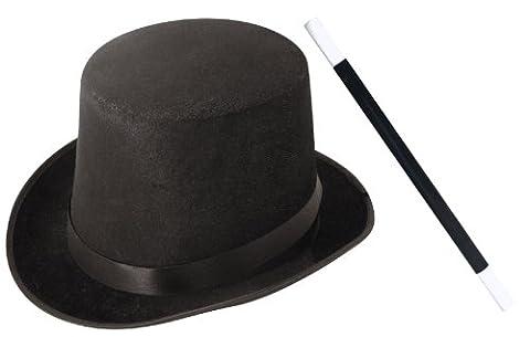 Accessoires du petit magicien avec un chapeau haut de forme noir + une baguette magique noire et blanche pour enfant. Idéal pour réaliser ses premiers tours.