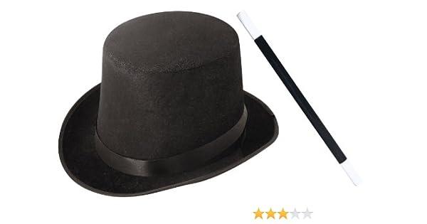 accessoires du petit magicien avec un chapeau haut de forme noir une baguette magique noire