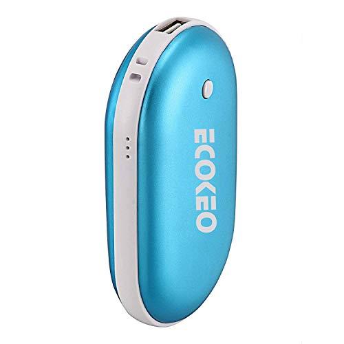 Ecokeo Handwärmer Wiederaufladbare 5200mAh Powerbank, USB Handwärmer für Smartphones, Blau