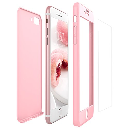 Yokata iPhone 7 Plus/iPhone 8 Plus Hülle + iPhone 7 Plus/iPhone 8 Plus Panzerglas, Hardcase Schutzhülle 2 in 1 Handyhülle Ultra Dünn Slim 360 Grad Full Body Schutz 2 Teilig Styliche Handytasche Clear Elegant Backcover Anti-Rutsch Kratzfest Hart PC Skin Bu