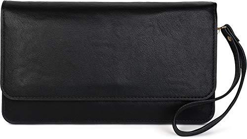styleBREAKER Damen Clutch mit Überschlag und Trageschlaufe, Abendtasche, Portemonnaie 02012259, Farbe:Schwarz